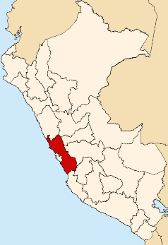Location of the Lima region in Peru
