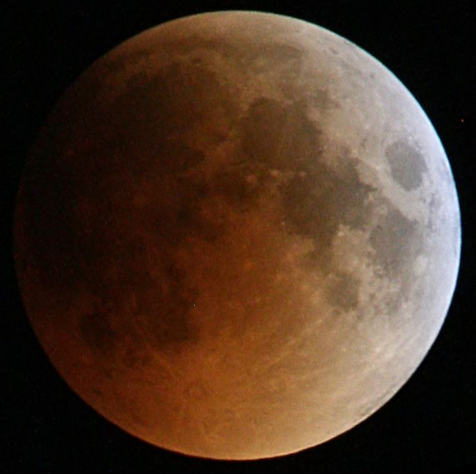 Total Lunar eclipse 15 June 2011 in its total stage as seen from Dar es Salaam, Tanzania