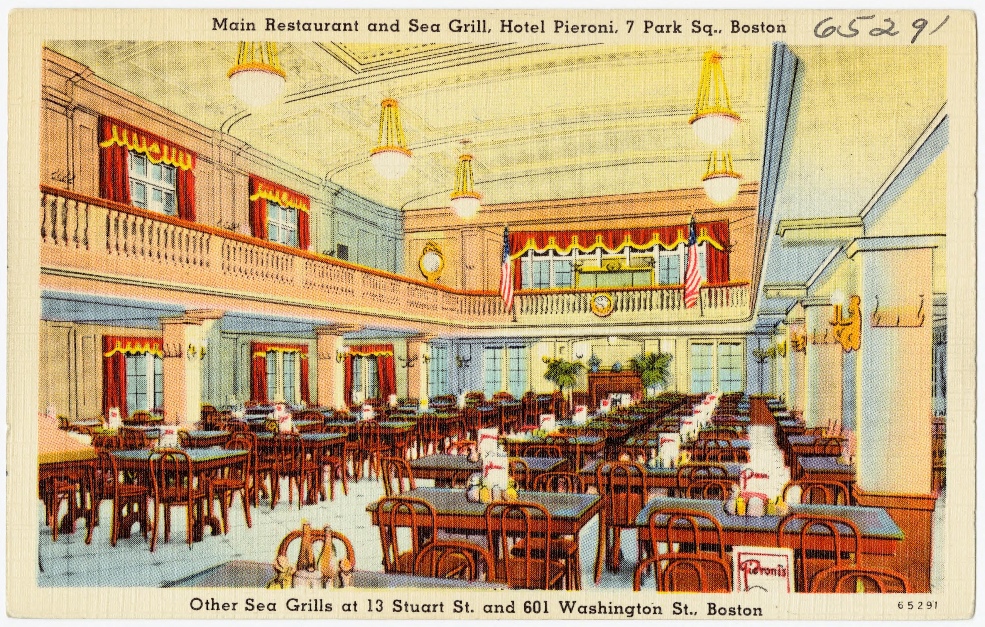 File Main Restaurant And Sea Grill Hotel Pieroni 7 Park Sq Boston Other Sea Grills At 13 Stuart St And 601 Washington St Boston 65291 Jpg Wikimedia Commons