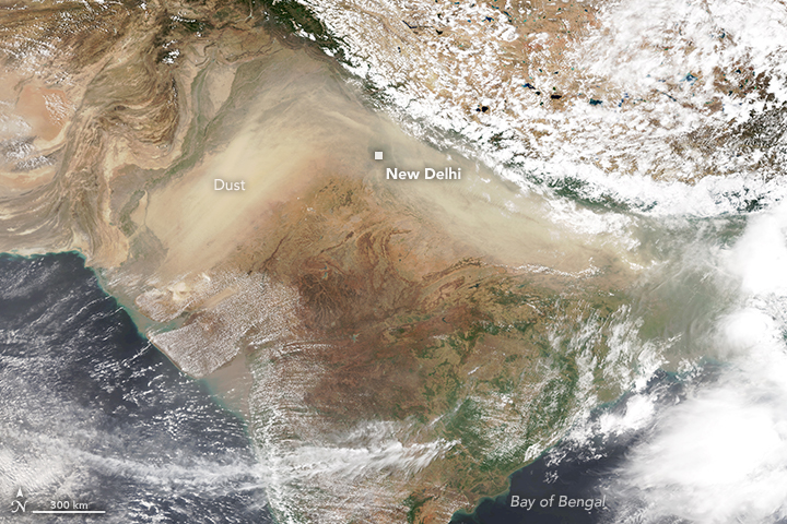 Dust storms typically occur over the Indo-Gangetic Plains during the pre-monsoon season in India and Delhi is often impacted. Photo credit: Lauren Dauphin/NASA Earth Observatory using VIIRS data from the Suomi National Polar-orbiting Partnership, and air quality data from AirNow (2018)/Wikimedia Commons [Licensed under CC BY Public domain]