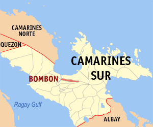 Map of Camarines Sur showing the location of Bombon