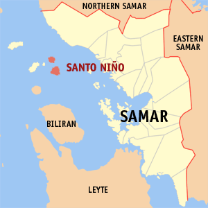 Map of Samar showing the location of Santo Niño