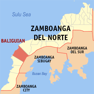 Map of Zamboanga del Norte showing the location of Baliguian