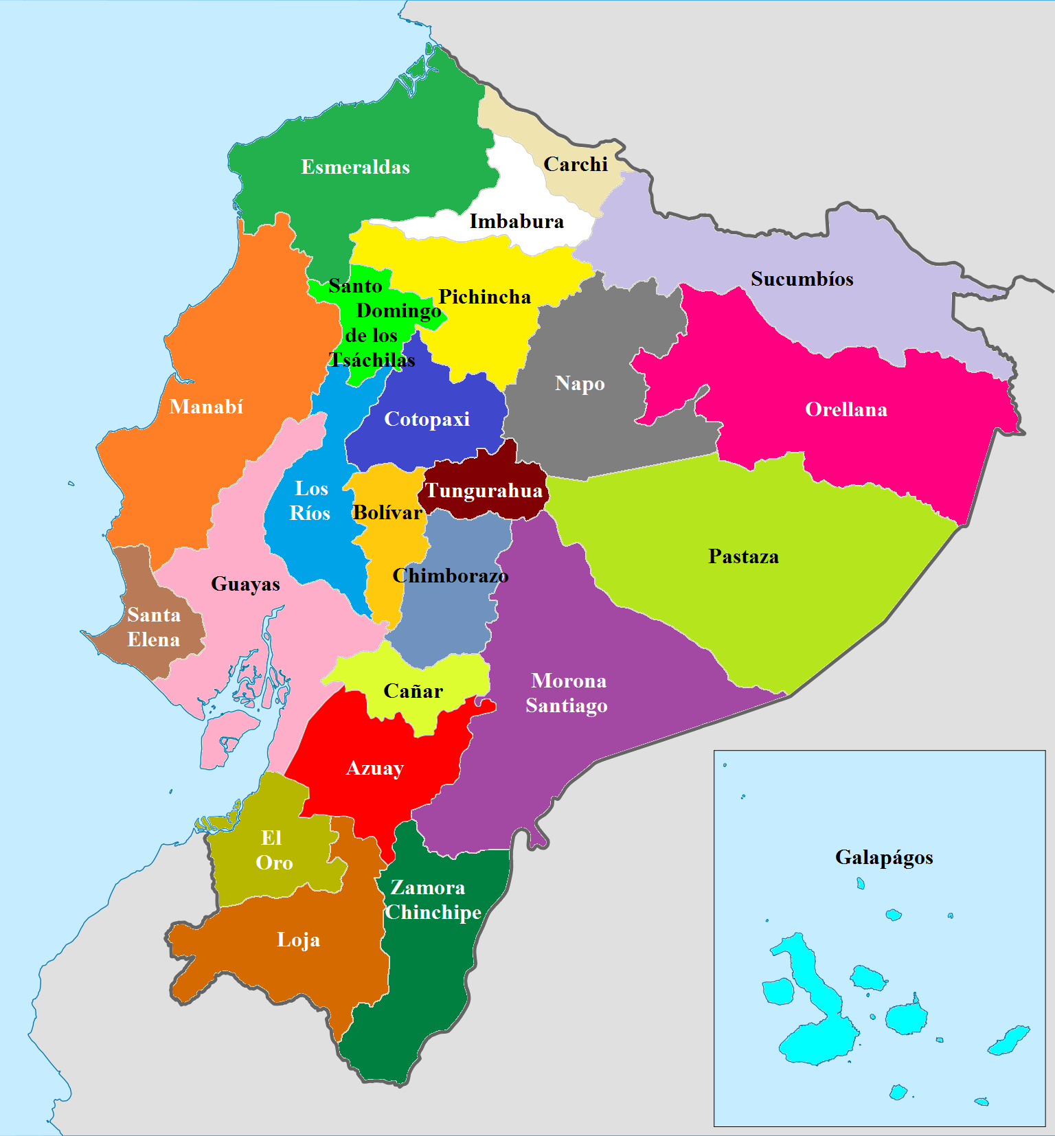 Online Maps Provinces Of Ecuador - Ecuador provinces map