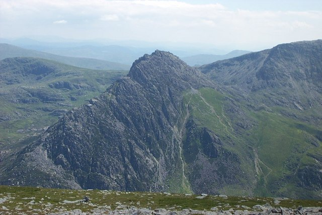 View of Tryfan from Pen yr Ole Wen Summit - geograph.org.uk - 222977