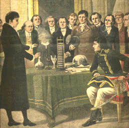 Volta demonstrates his battery to Napoleon Bonoparte