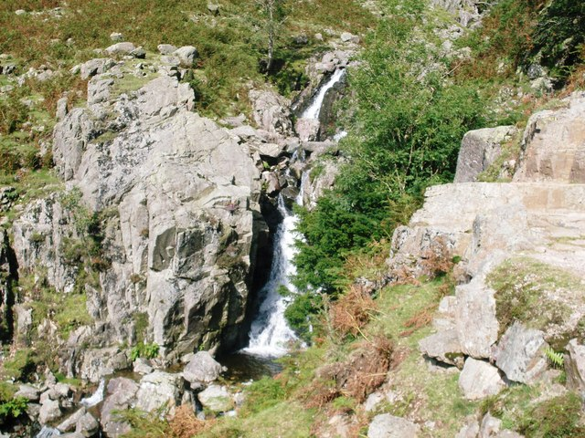 Waterfalls to the left of the main path - geograph.org.uk - 945439