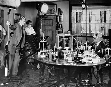 James Whale and Claude Rains on the set of The Invisible Man