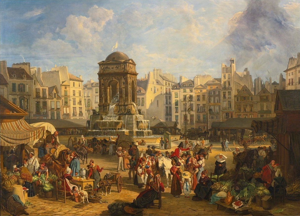 'View of the Market and Fontaine des Innocents, Paris' by John James Chalon, 1826.jpg