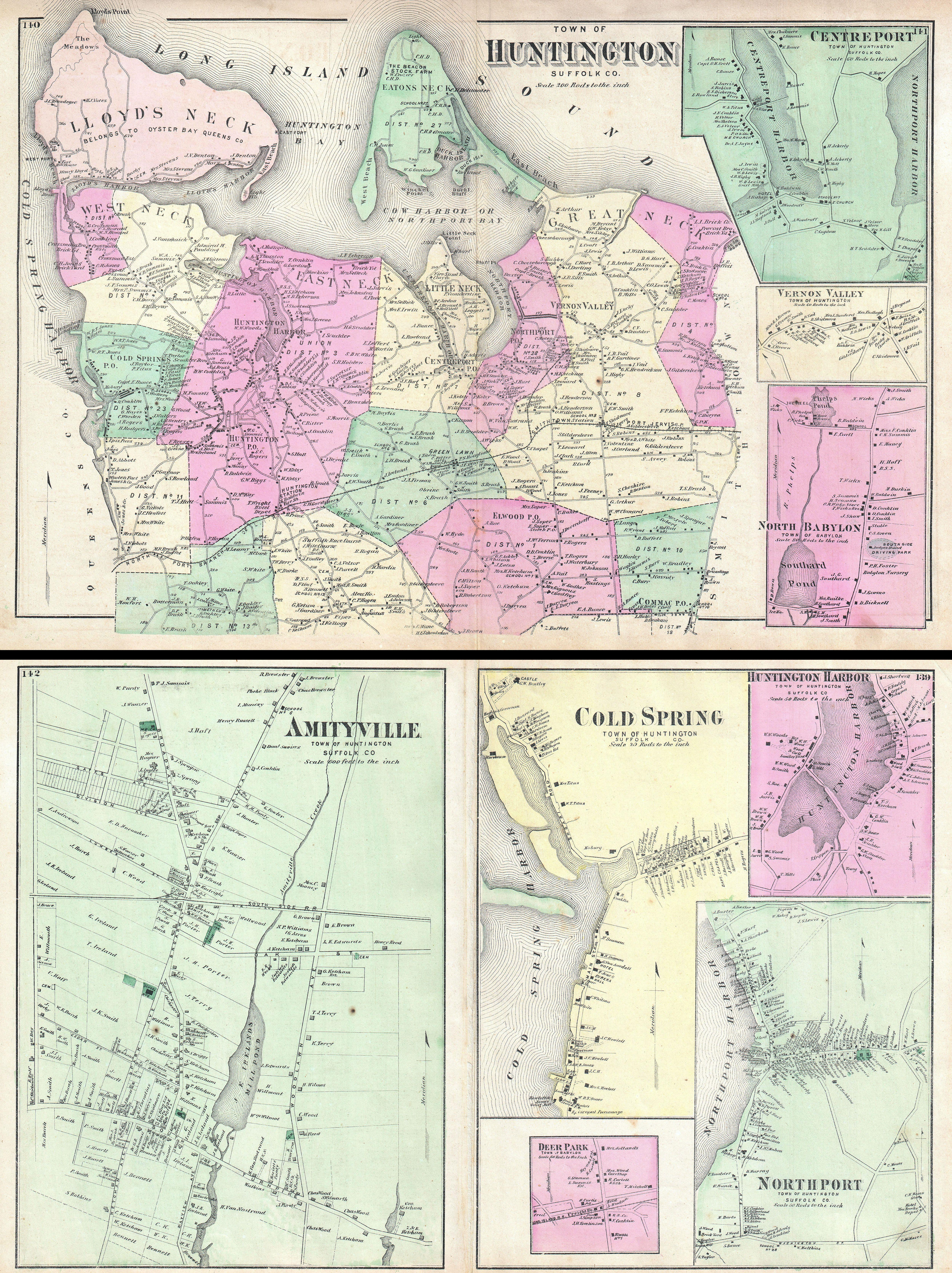 Huntington New York Map.File 1873 Beers Map Of Huntington And Amityville Long Island New