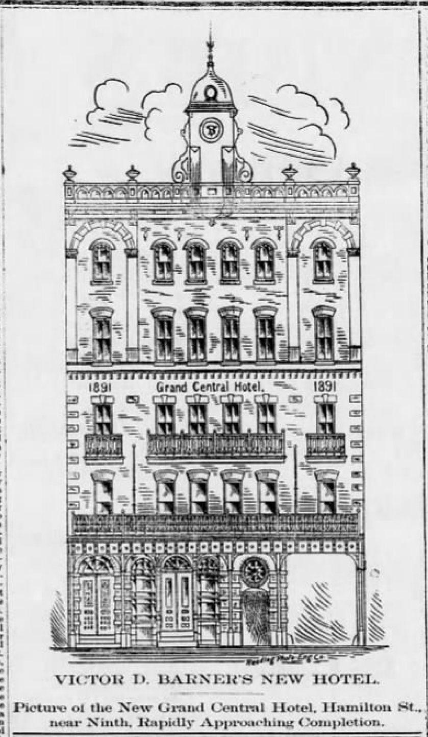 File 1891 Grand Central Hotel Newspaper Ad Allentown Pa Jpg Wikimedia Commons
