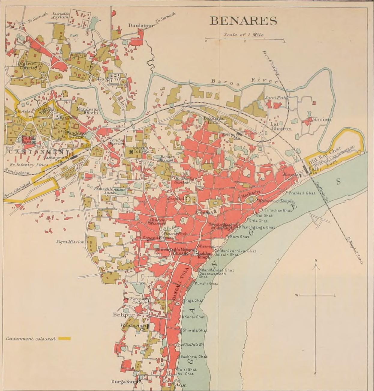 File1911 Map of Benares Varanasi Uttar Pradesh Indiajpg