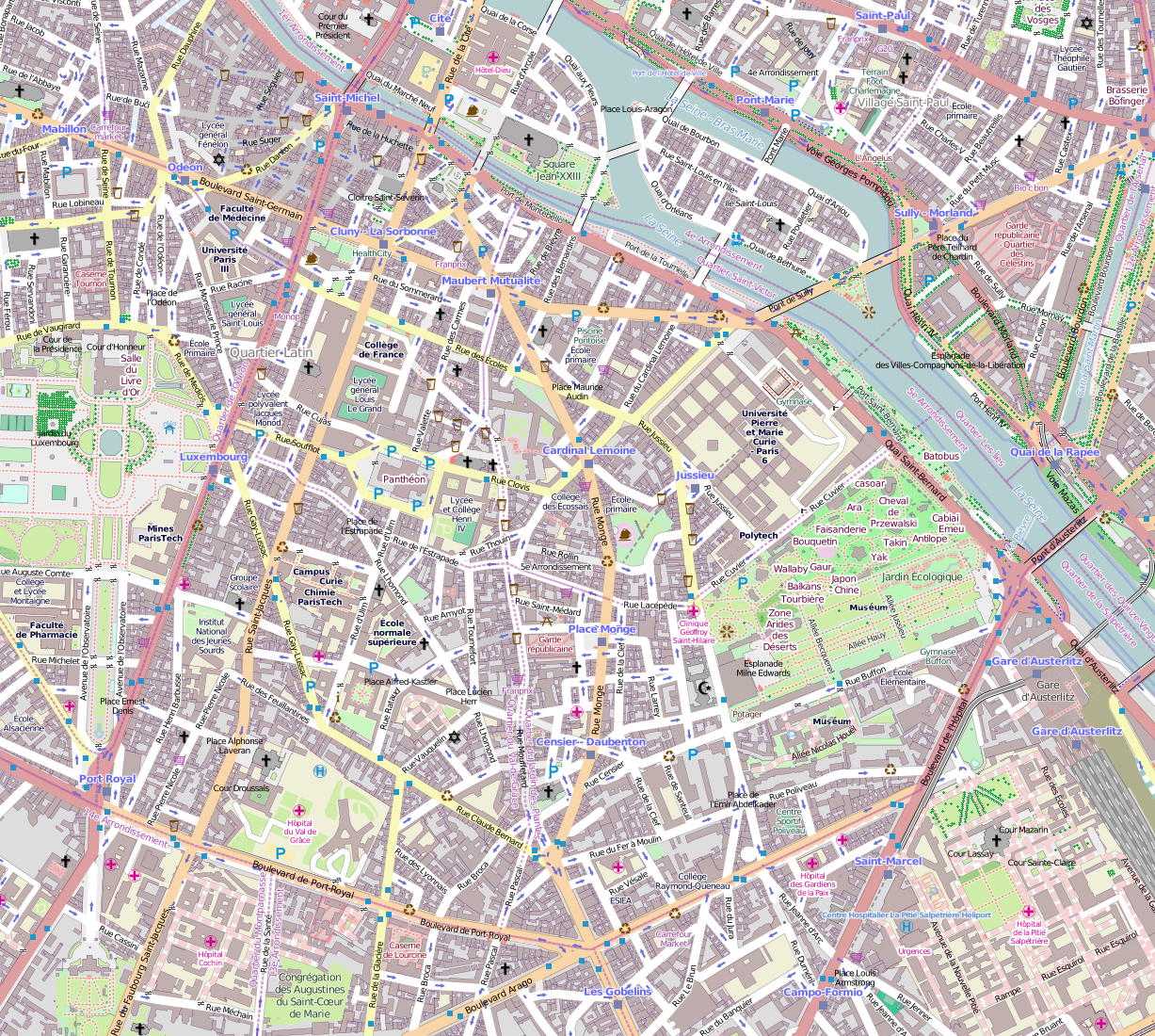 photograph relating to Printable Map of Paris called Record:5e Arrondissement, Paris, France - Open up Highway Map.png