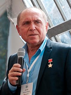 Cosmonaut Aleksandr A. Volkov (3 August 2013)Photo by Evgeny Salganik Source: Wikipedia Aleksandr_Volkov_Geek_Picnic_%28cropped%29.jpg