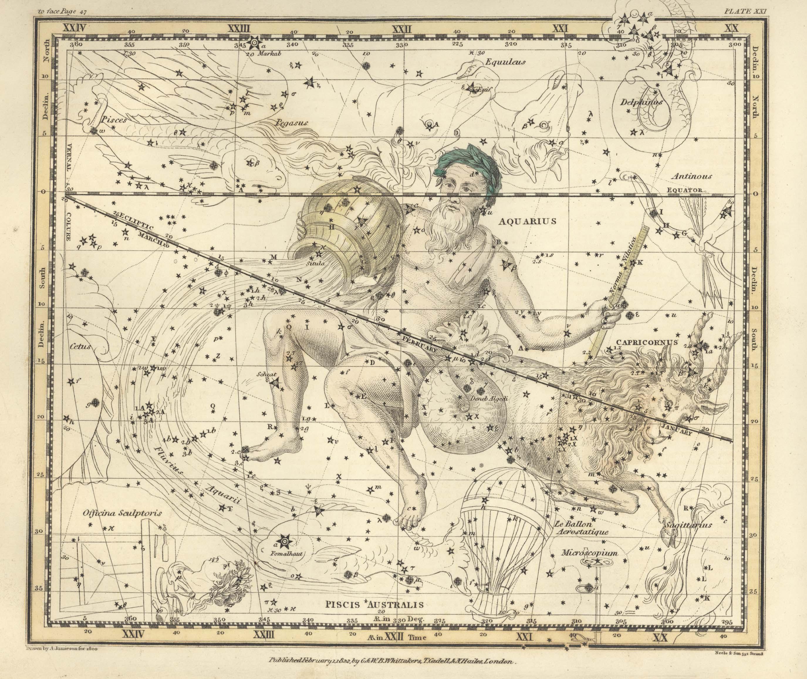 An image of Aquarius from a celestial atlas.