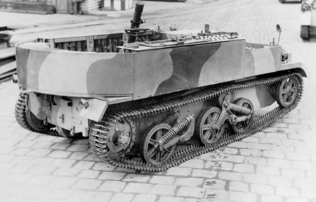 An Australian Mk.I derived 3-in (76.2 mm) Mortar Carrier. The rounded backside of the Mk.I is clearly visible