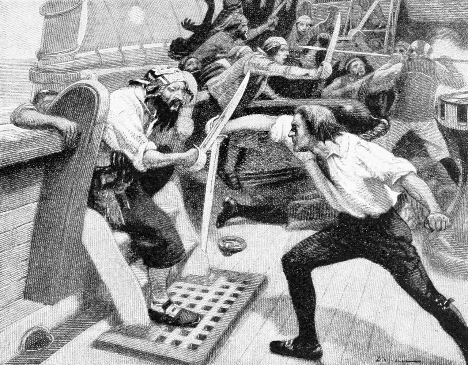 A pirate boarding a ship, sword in hand