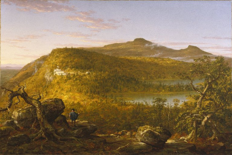 File:Brooklyn Museum - A View of the Two Lakes and Mountain House, Catskill Mountains, Morning - Thomas Cole - overall.jpg