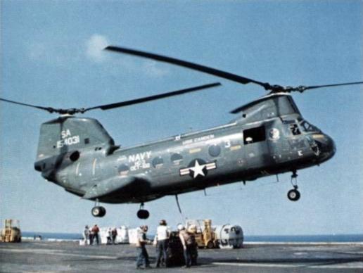 CH-46D HC-3 over USS Enterprise (CVAN-65) c1973