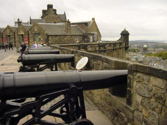 Cannons on the northern defenses of Edinburgh Castle