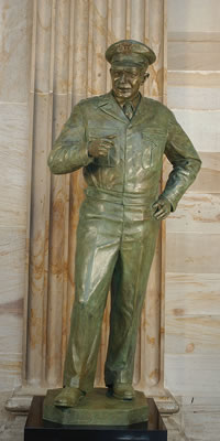 The bronze statue of Eisenhower that stands in the rotunda