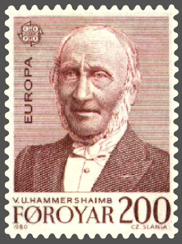 A stamp commemorating V. U. Hammershaimb, a 19th-century Faroese linguist and theologian Faroe stamp 048 europe (v u hammershaimb).jpg