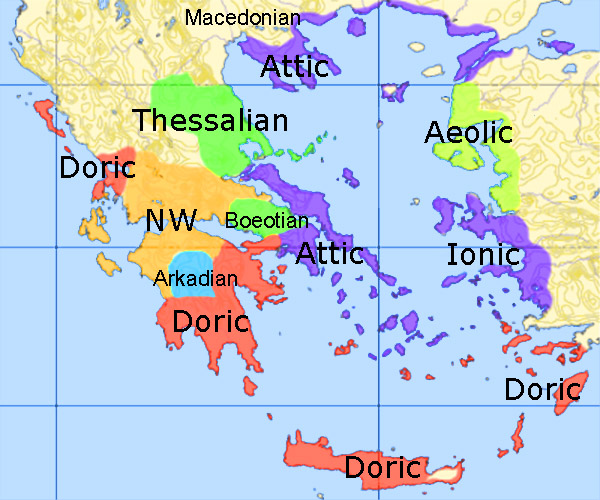 Image result for ancient greek dialects map