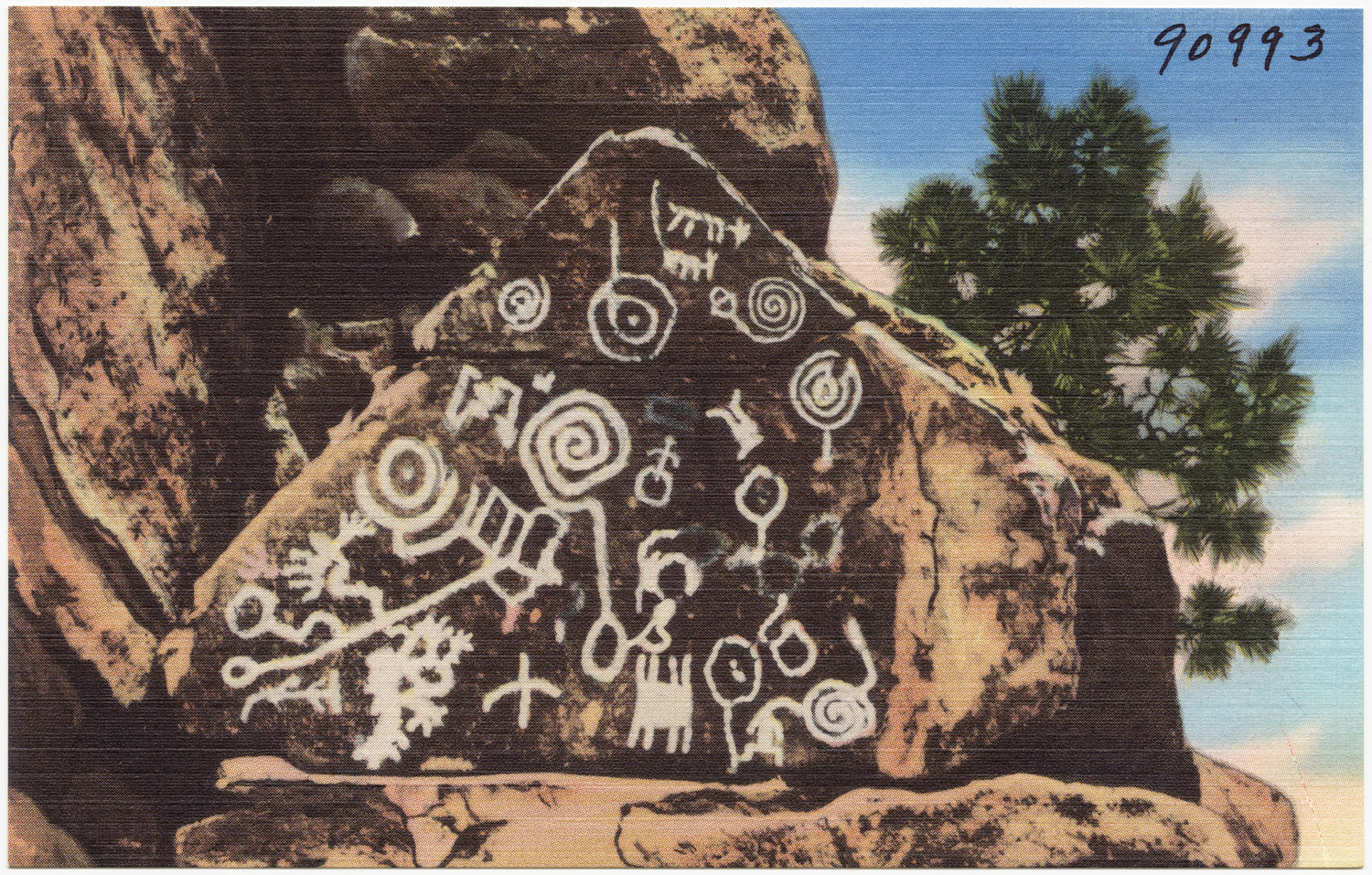 Indian petroglyphs, Manitou Cliff Dwellings, Colorado.