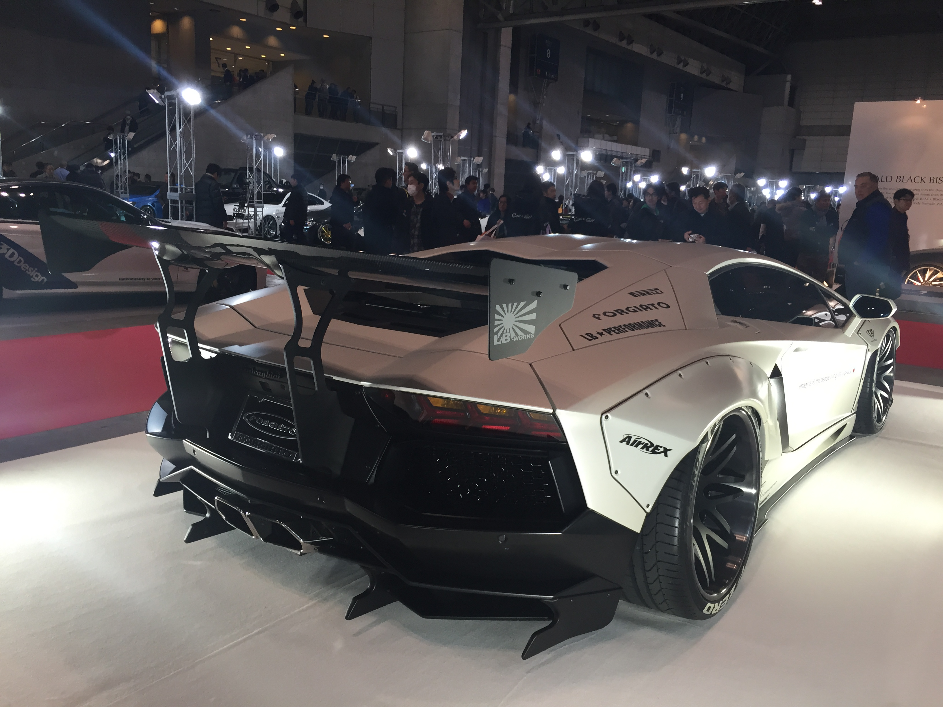 file lb works aventador rear tokyo auto salon. Black Bedroom Furniture Sets. Home Design Ideas