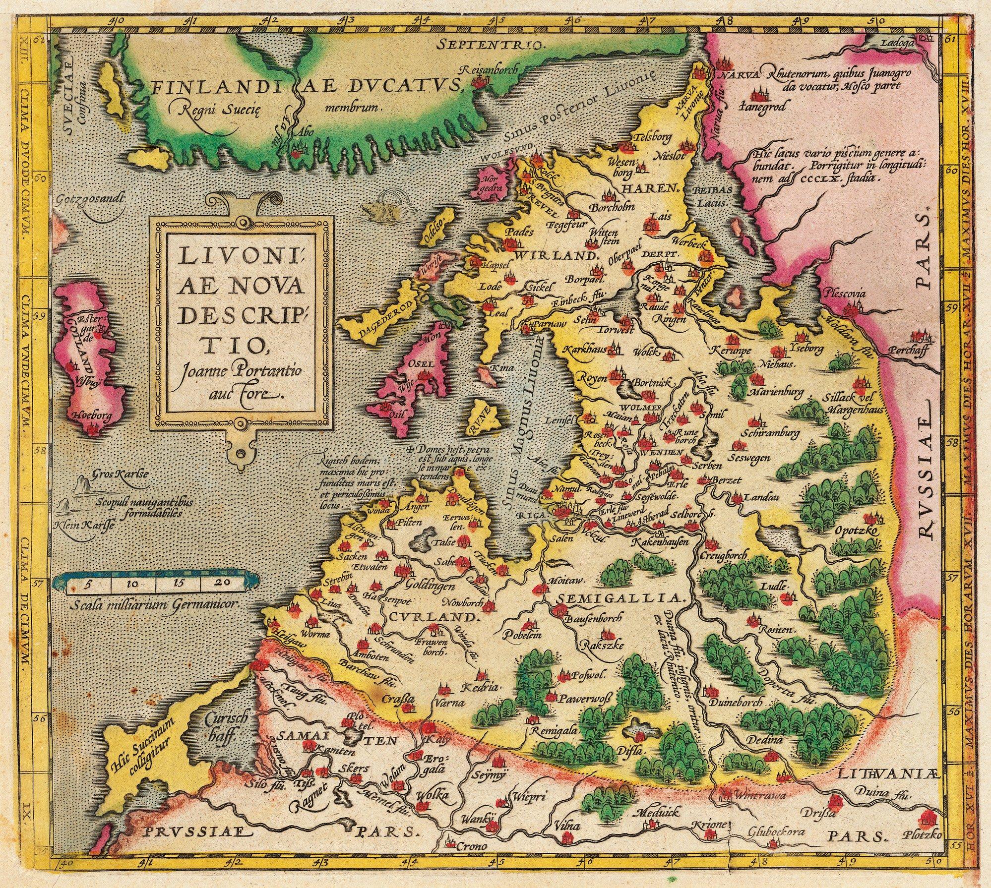Karte Livoniae Nova Descriptio 1573-1578
