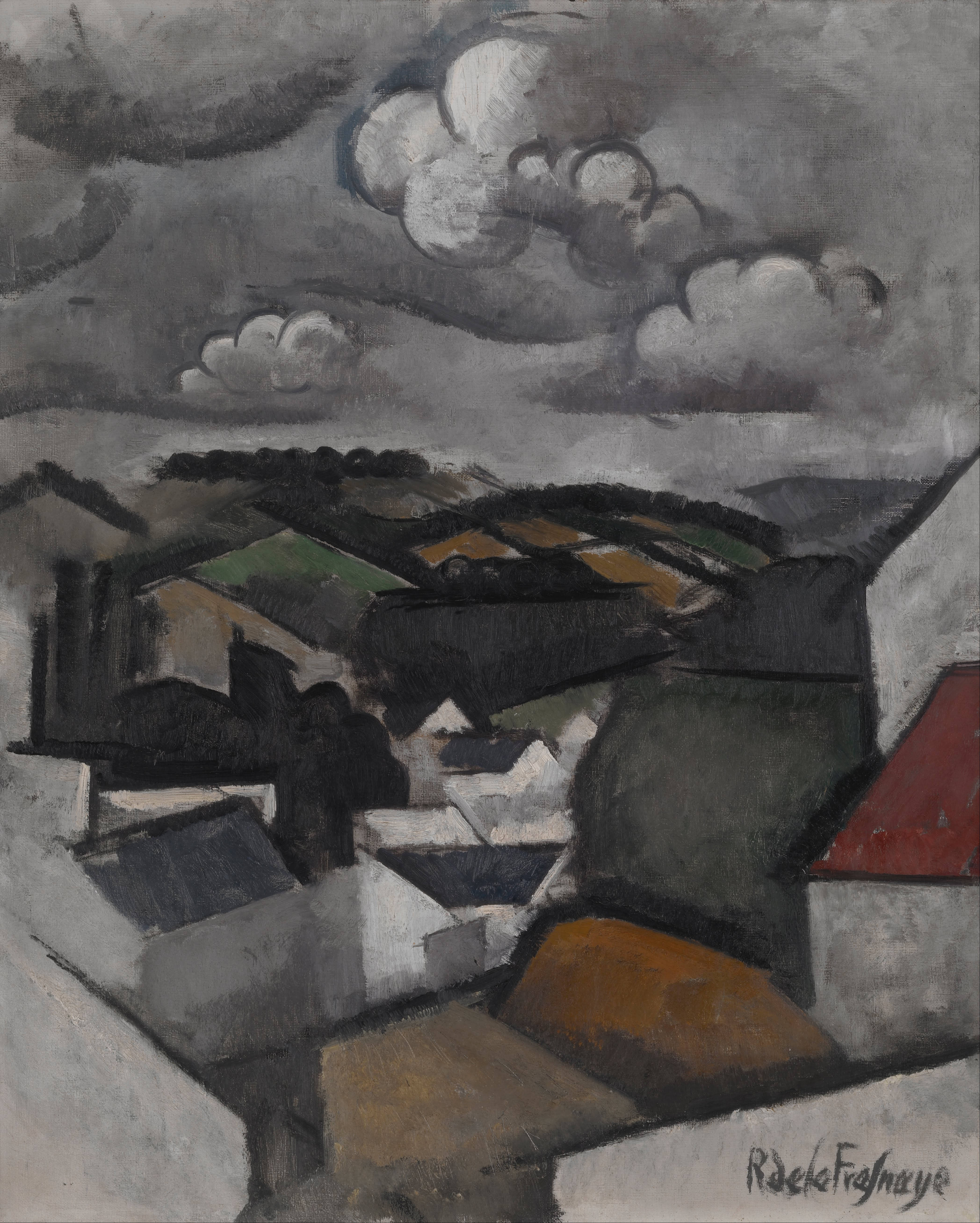 What Type Of Oil >> File:La Fresnaye, Roger de - Landscape with a Village, The