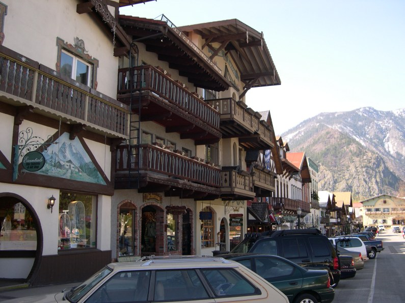 Leavenworth's main street reflects its modelling on a Bavarian village