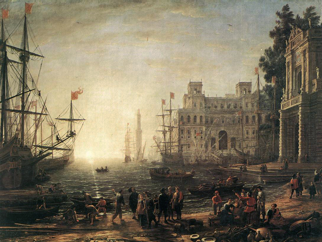 An imaginary seaport with a transposed Villa Medici, painted by Claude Lorrain around 1637, at the height of mercantilism