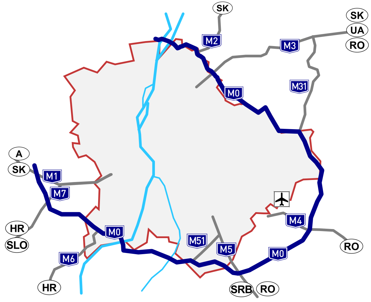 m0 budapest térkép File:M0 térkép.png   Wikimedia Commons m0 budapest térkép