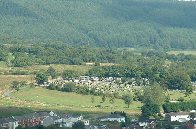 Maesteg Cemetery. From the south west - dominating the centre of this square