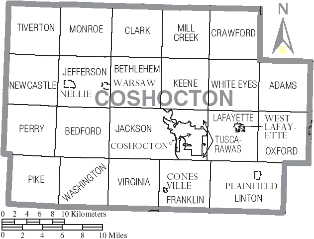 File:Map of Coshocton County Ohio With Municipal and Township