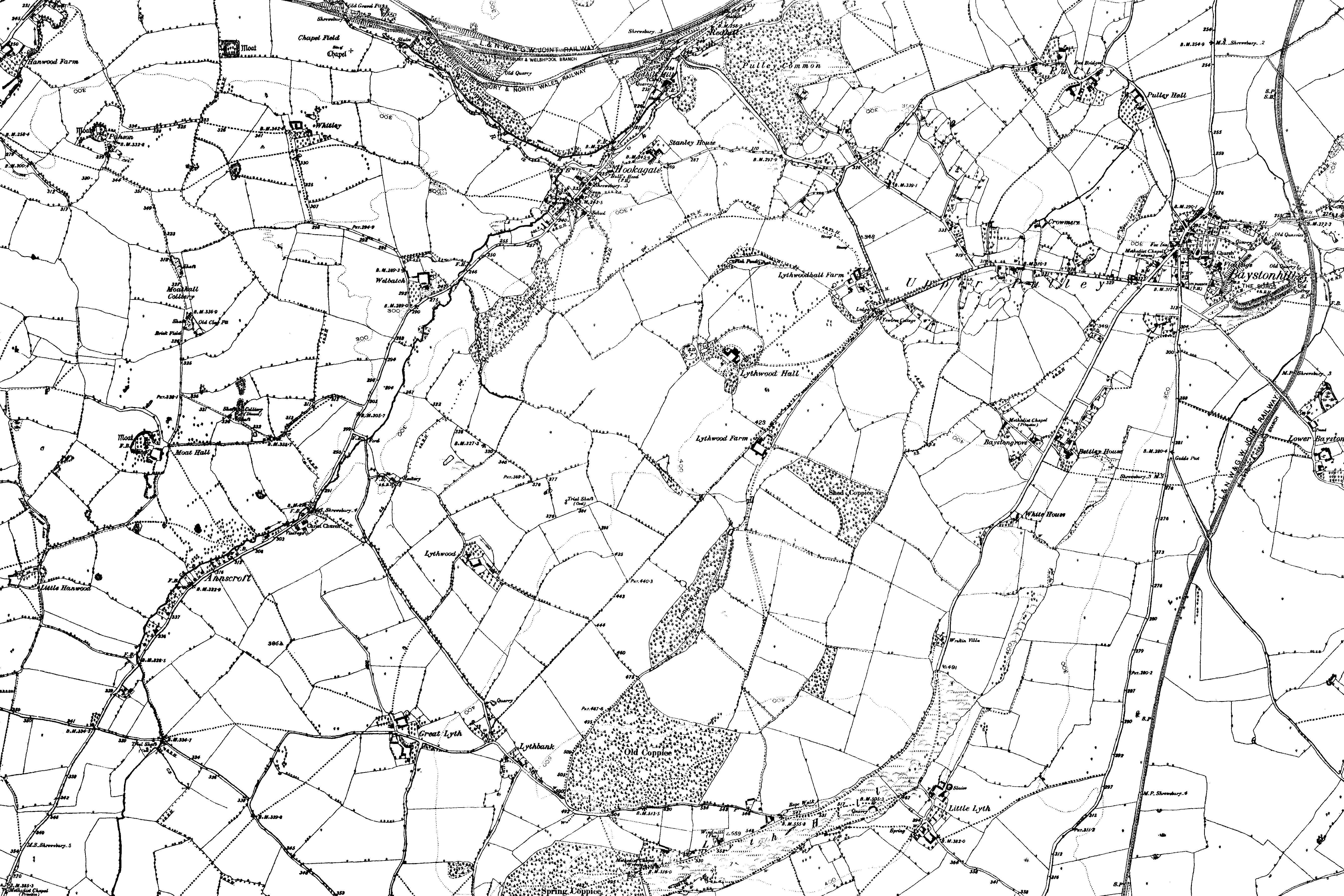OS Map name 041/NW Annscroft, Bayston Hill, Great Lyth, Hook-a-Gate, Little Lyth, Lythbank, Pulley, SY5 8, SY3 0. Date: between 1883 and 1895.