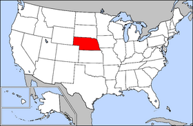 Mapa ning United States with Nebraska highlighted