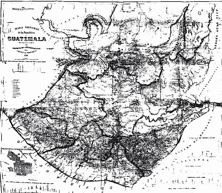 Mapa de la República de Guatemala en la década de 1840.  Wikimedia Commons.