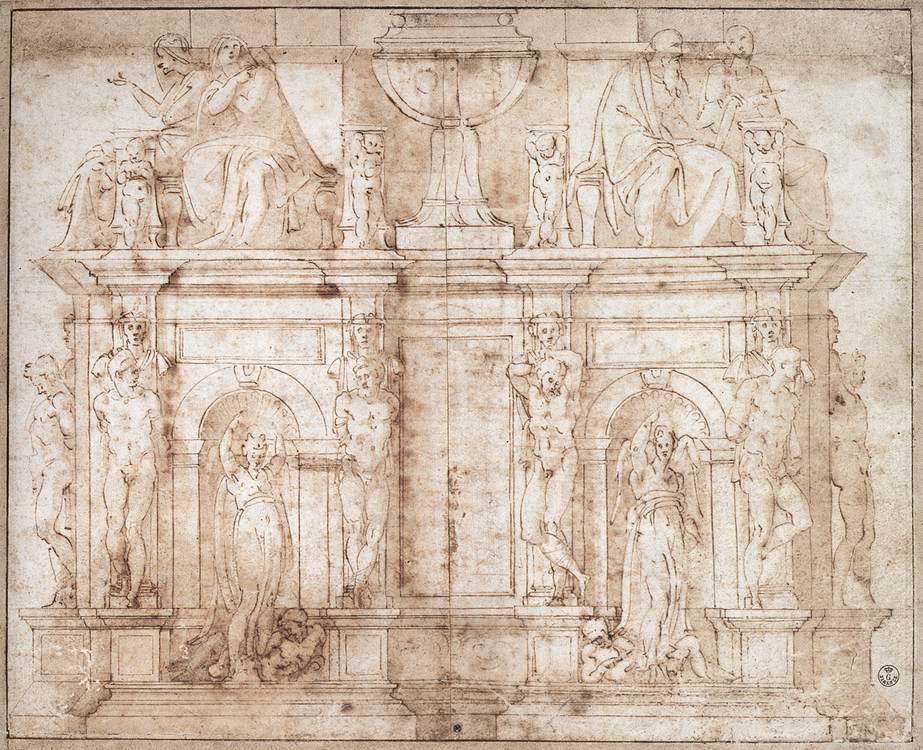 https://upload.wikimedia.org/wikipedia/commons/2/29/Michelangelo_Second_design_for_wall_tomb_for_Julius_II.jpg
