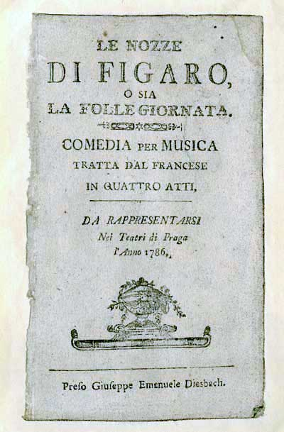 Libreto del estreno de <em>Las bodas de Fígaro</em> en Praga en 1786.