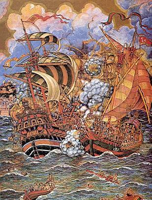 Navire_ottoman_et_navire_espagnol_pendant_la_bataille_de_Tunis_1535.jpg (309×408)
