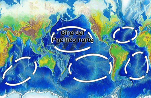 North Pacific Gyre World Map es