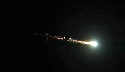 Photo of October 17 fireball 2012 fireball taken by Astro 100 student, Paola Castillo using her cell phone