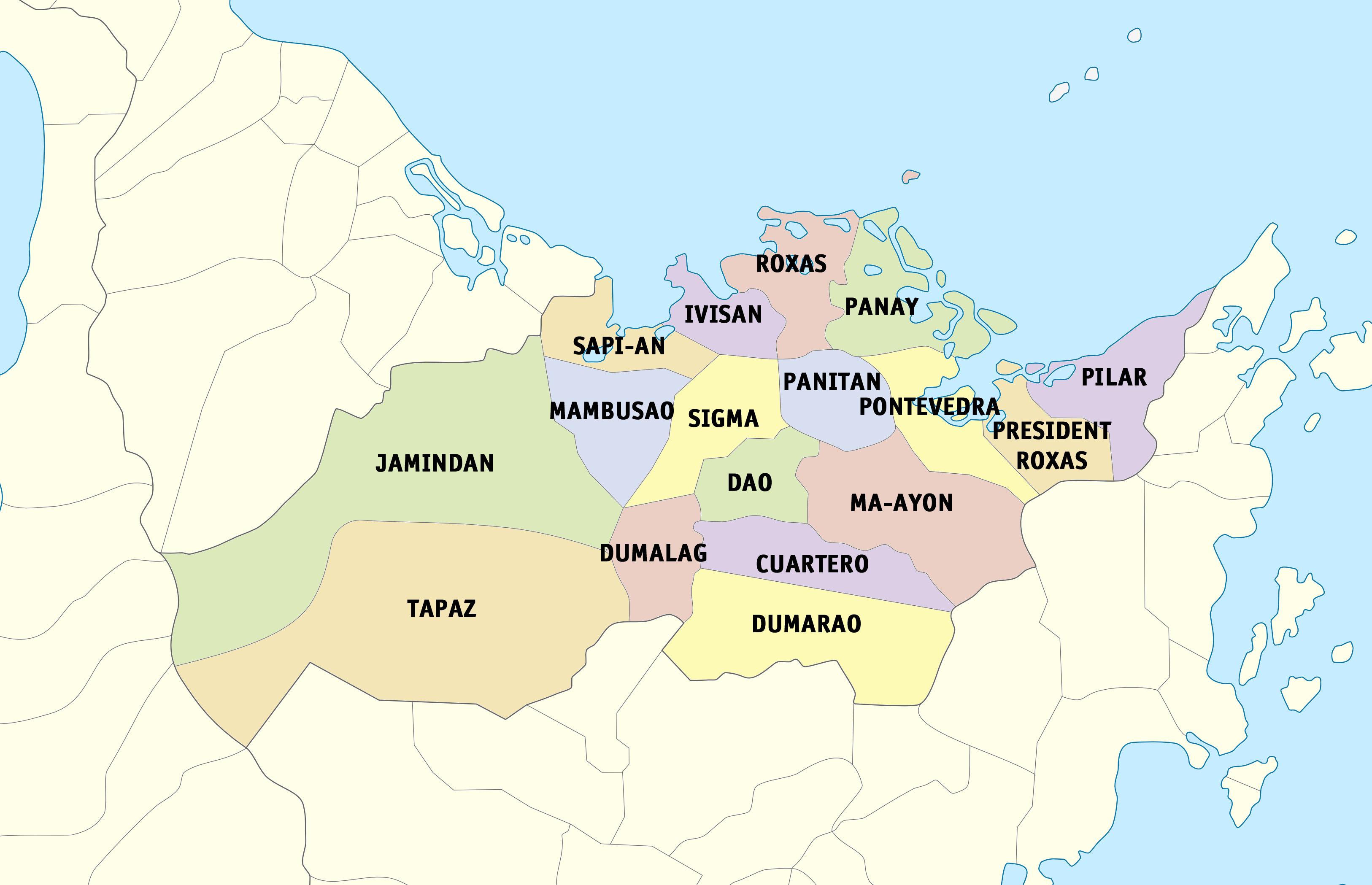 Capiz Wikiwand - Roxas map
