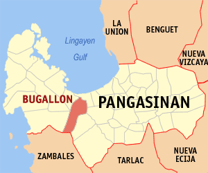 Map of Pangasinan showing the location of Bugalllon