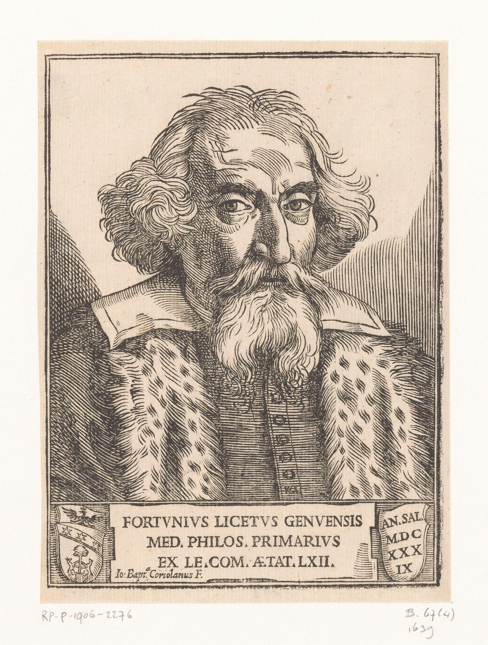 Portrait of Fortunio Liceti by [[Giovanni Battista Coriolano