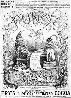 1867 edition of Punch, a ground-breaking British magazine of popular humour, including a great deal of satire of the contemporary, social, and political scene. Punch.jpg