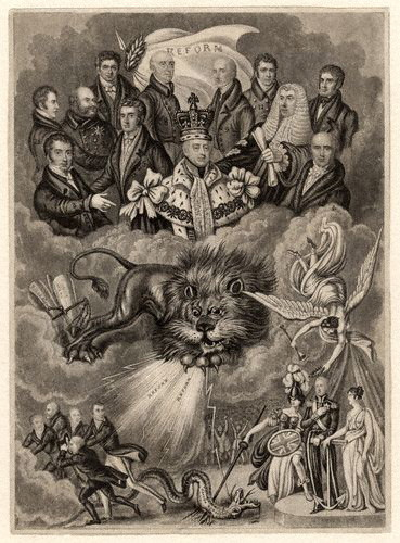 political cartoon on the reform act of 1832, there's a lion and a dragon being slain by Britannia personnified and I don't even know