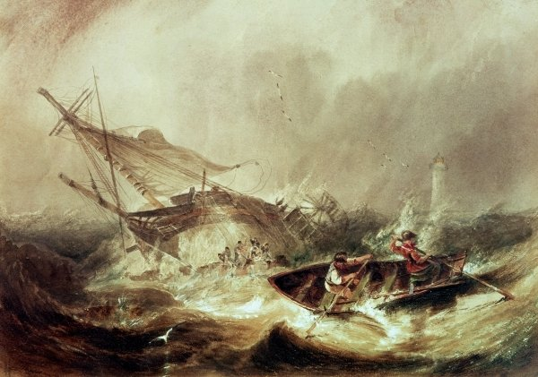 Rowing to rescue shipwrecked sailors off the Northumberland Coast by John Wilson Carmichael